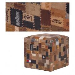pour l'intérieur, original pouf patchwork de marques en cuir - rayon banquette pouf de Maison d'un rêve…